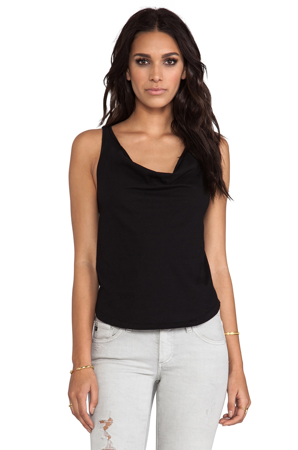 Bobi Light Weight Jersey Cowl Neck Tank in Black
