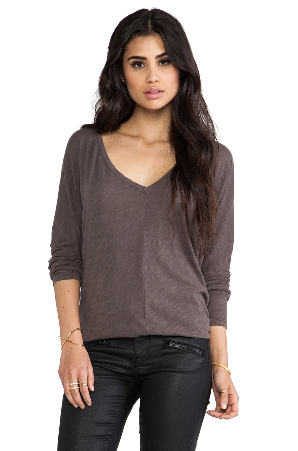 Bobi Cotton Slub V Neck Dolman in Slate