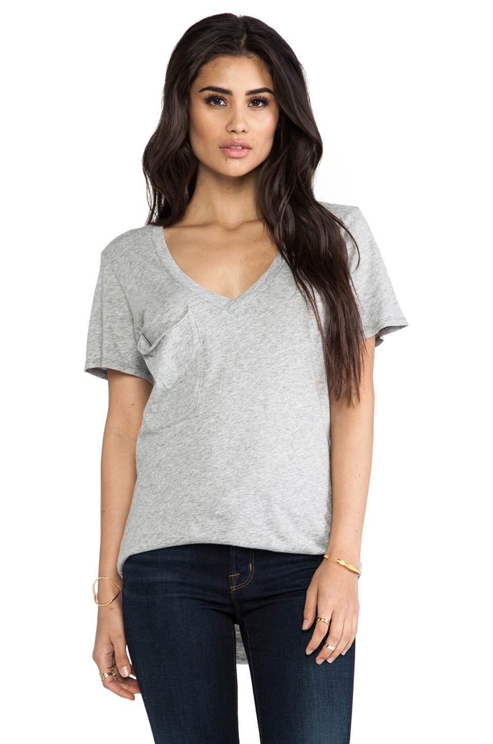 Bobi Light Weight Jersey Pocket Tee in Heather Grey