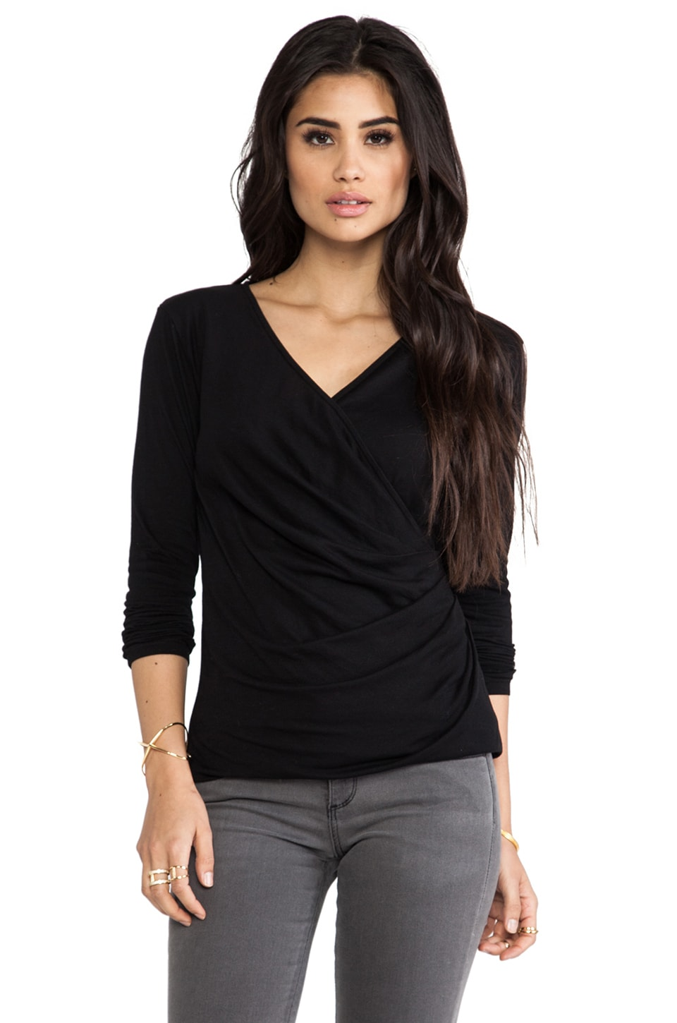 Bobi Light Weight Jersey Long Sleeve Wrap Tee in Black