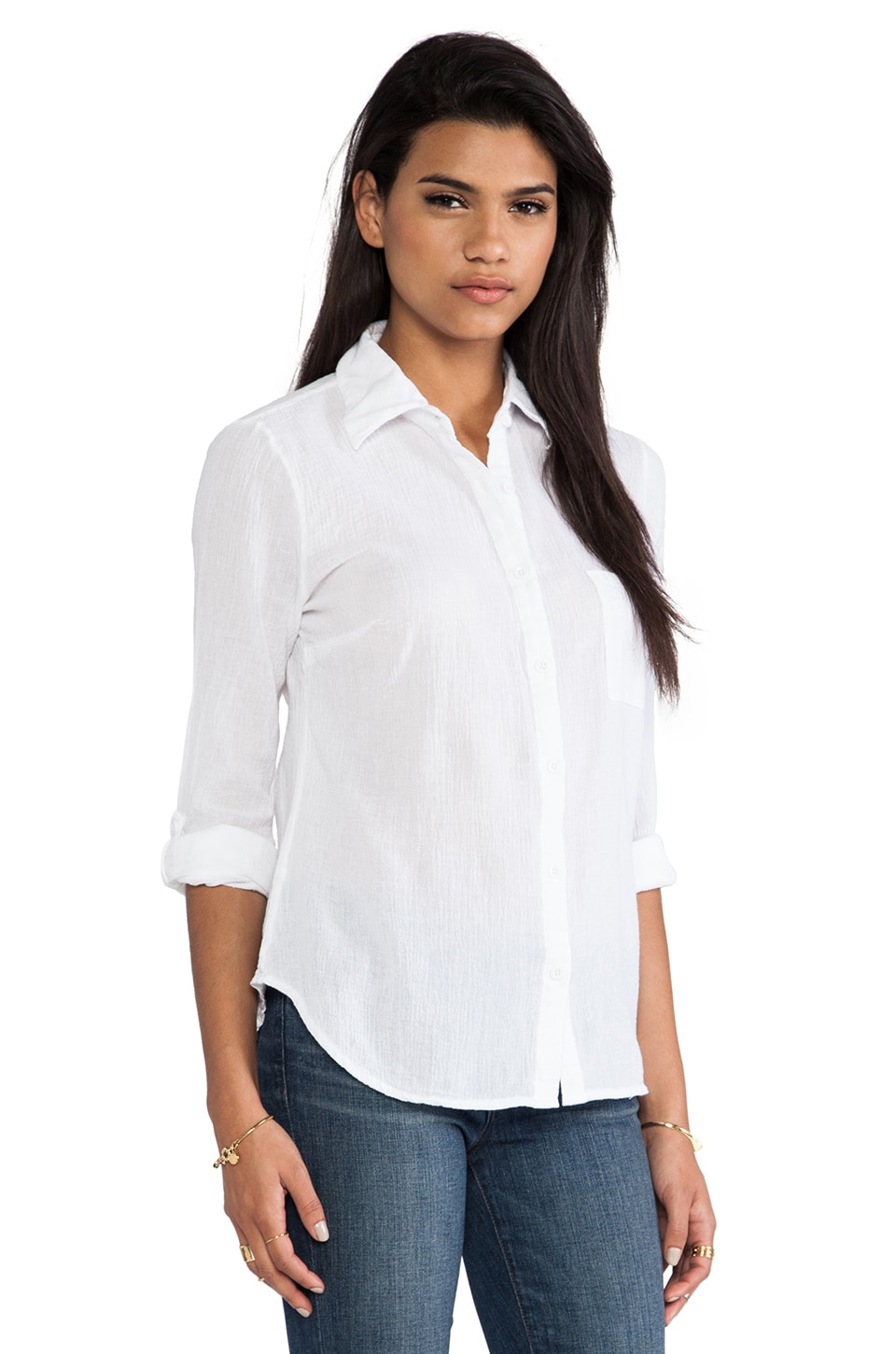 Bobi Collared Button Down Shirt in White | REVOLVE