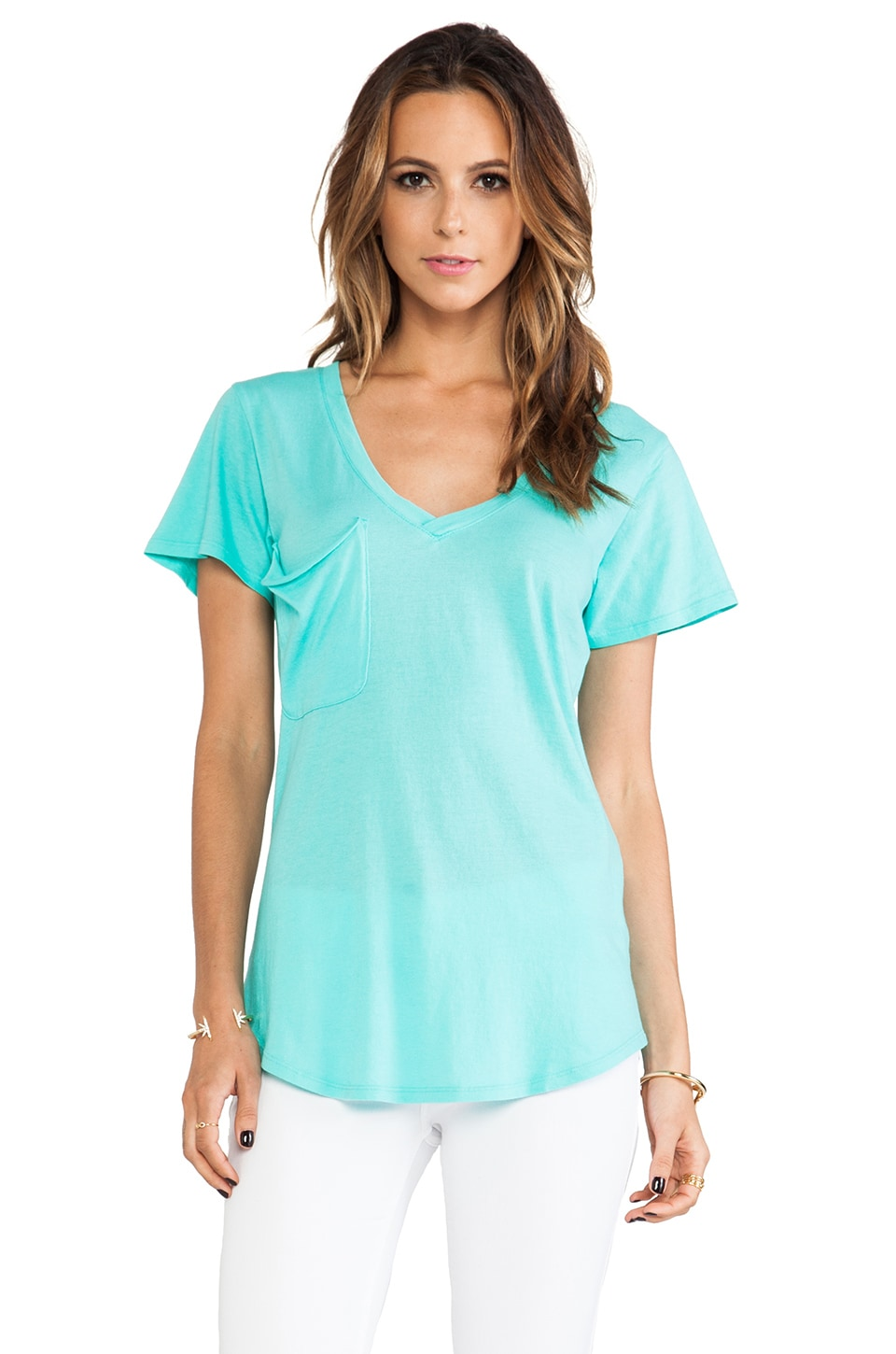 Bobi Light Weight Jersey Pocket Tee in Aqua