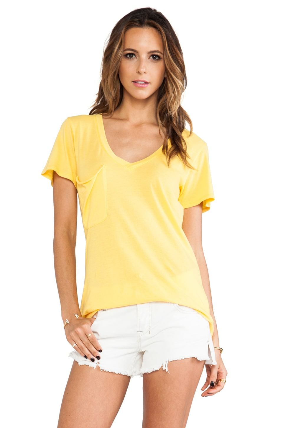 Bobi Light Weight Jersey Pocket Tee in Sunburst