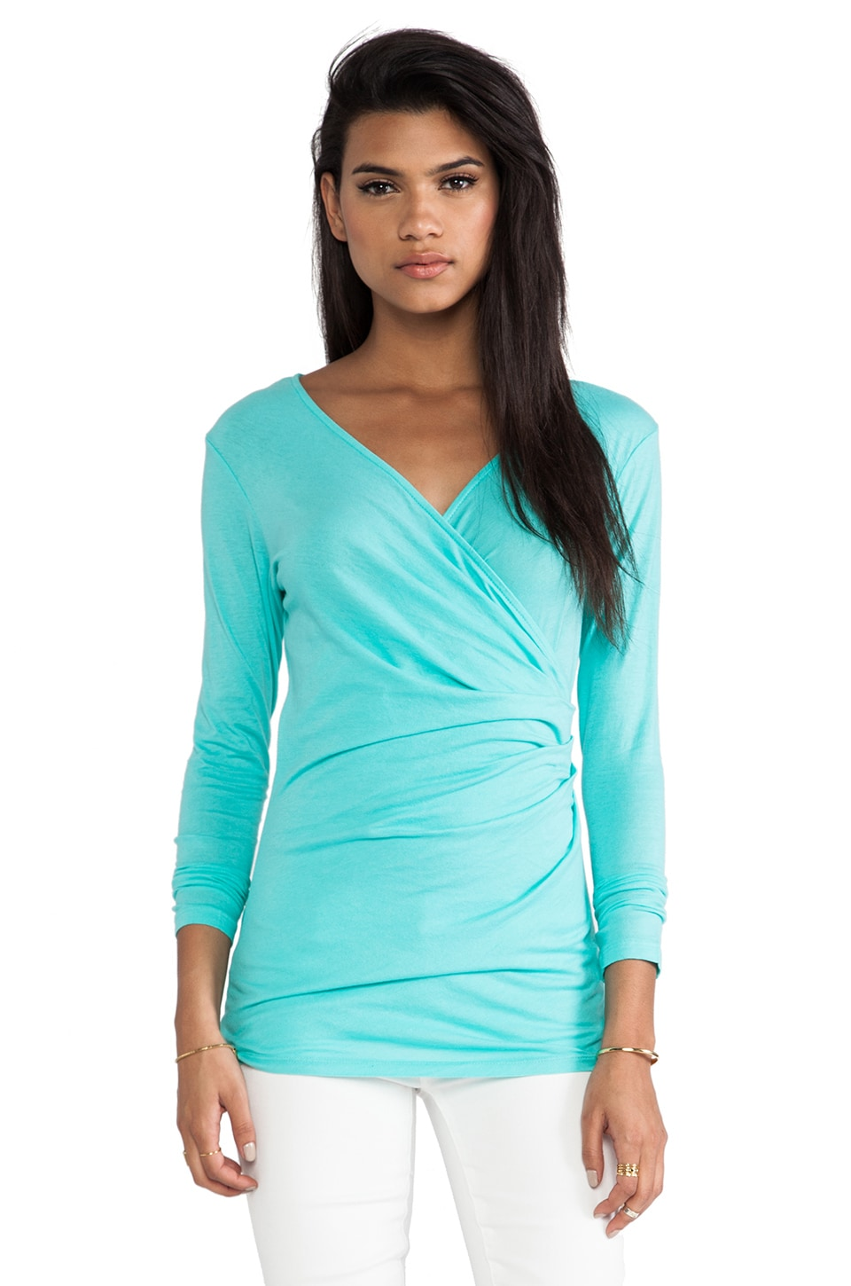 Bobi Light Weight Jersey Long Sleeve Wrap Tee in Aqua