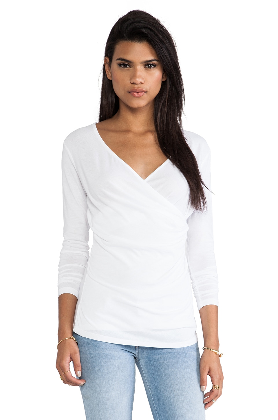 Bobi Light Weight Jersey Wrap Tee in White