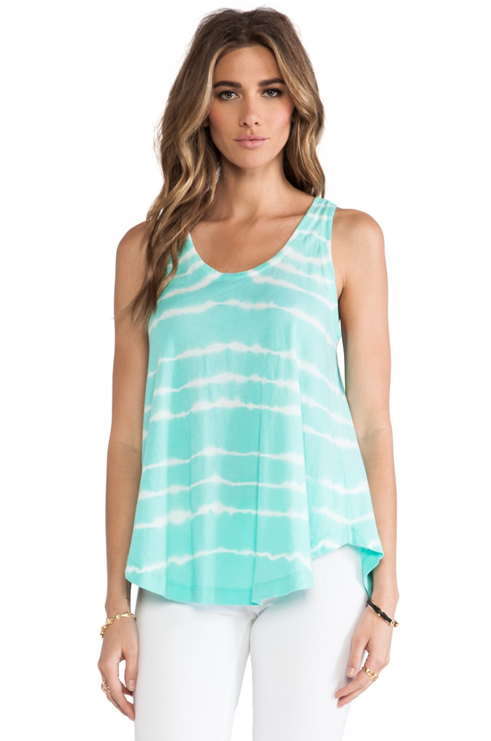 Bobi Light Weight Tie Dye Jersey Swing Tank in Aqua