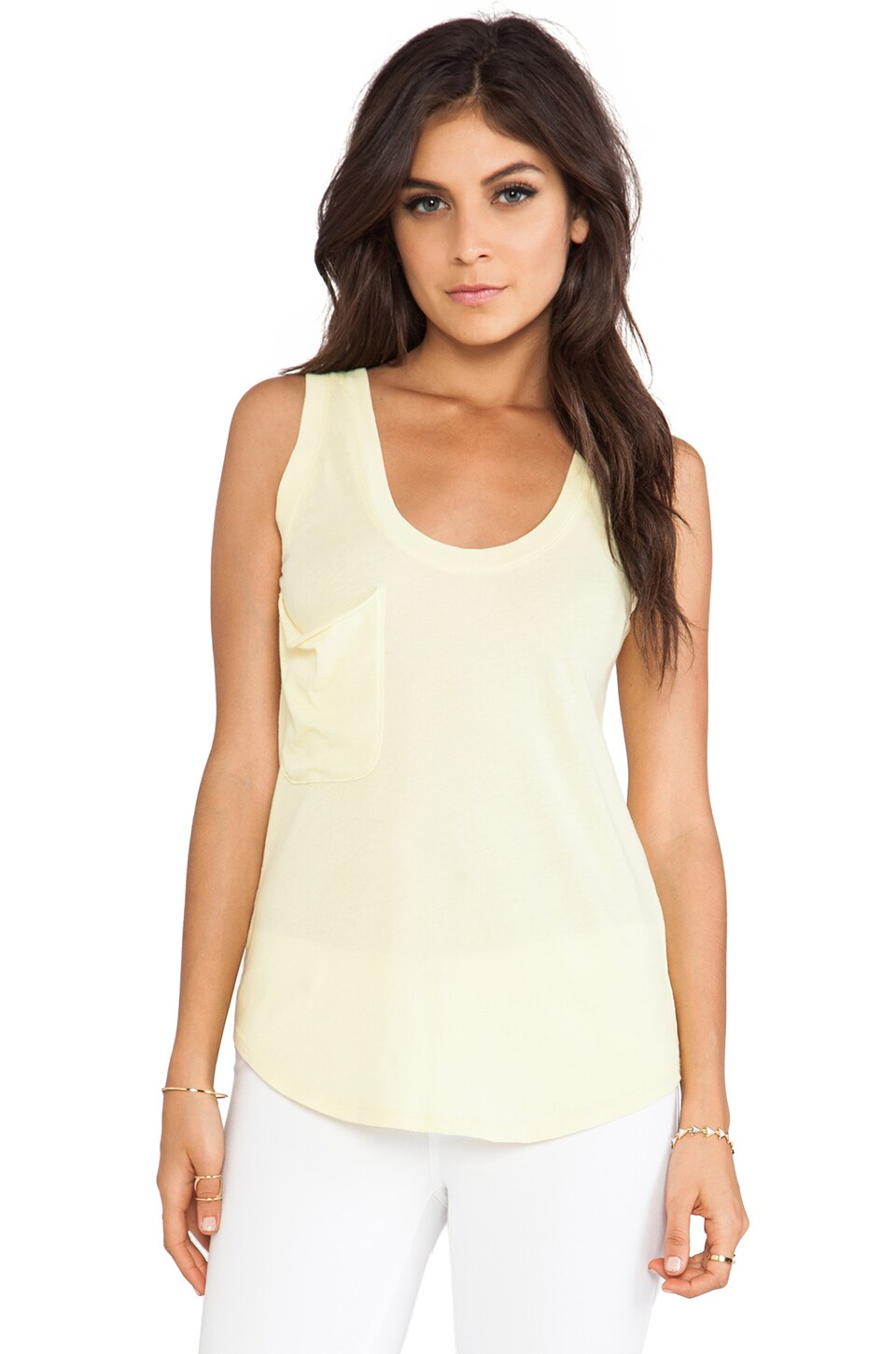Bobi Light Weight Jersey Pocket Tank in Pineapple