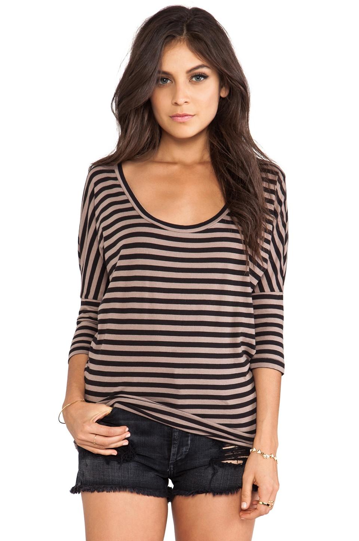 Bobi Light Weight Jersey Stripe Dolman Top in Java & Black