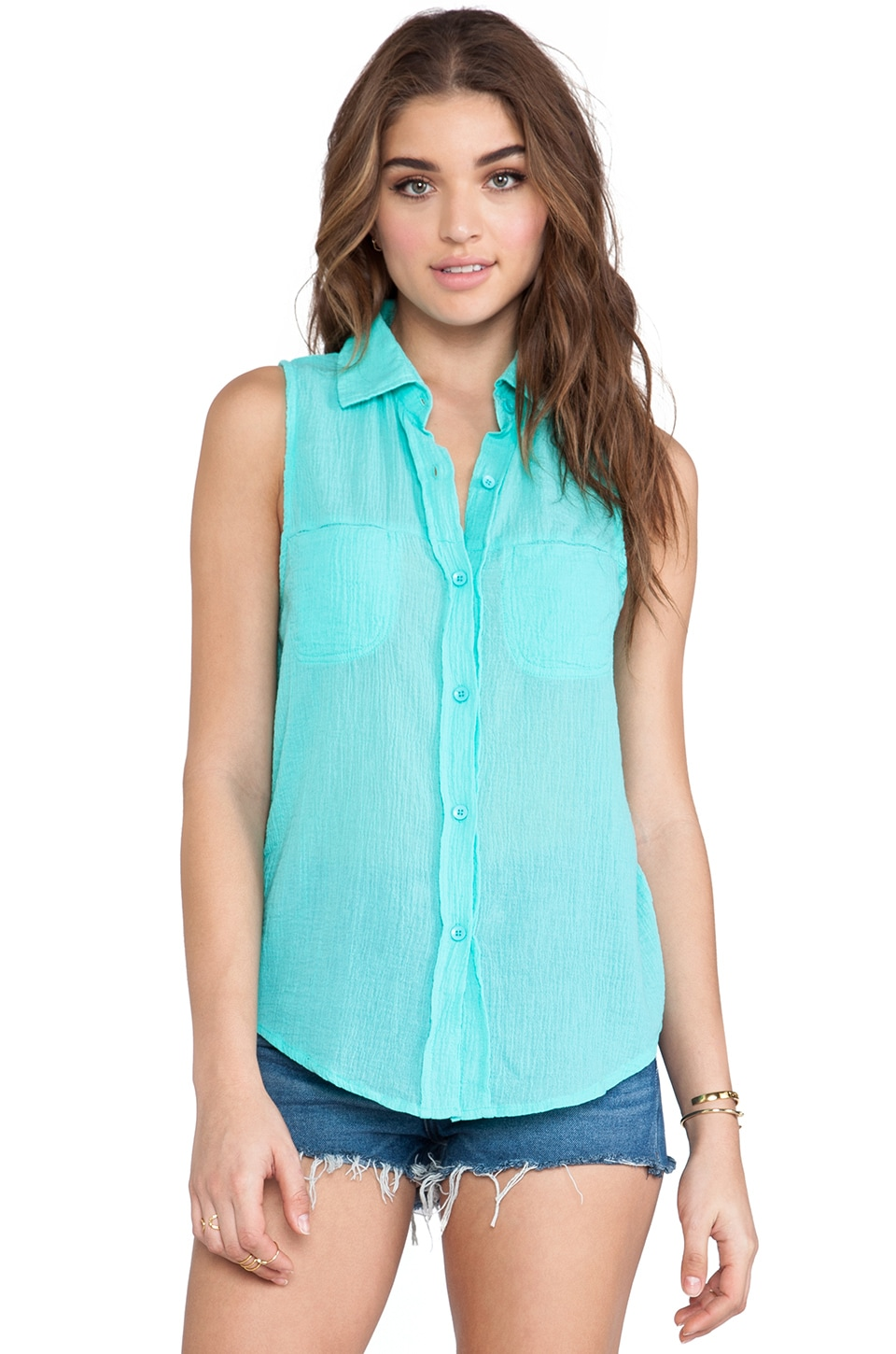 Bobi Gauze Button Down Tank in Aqua