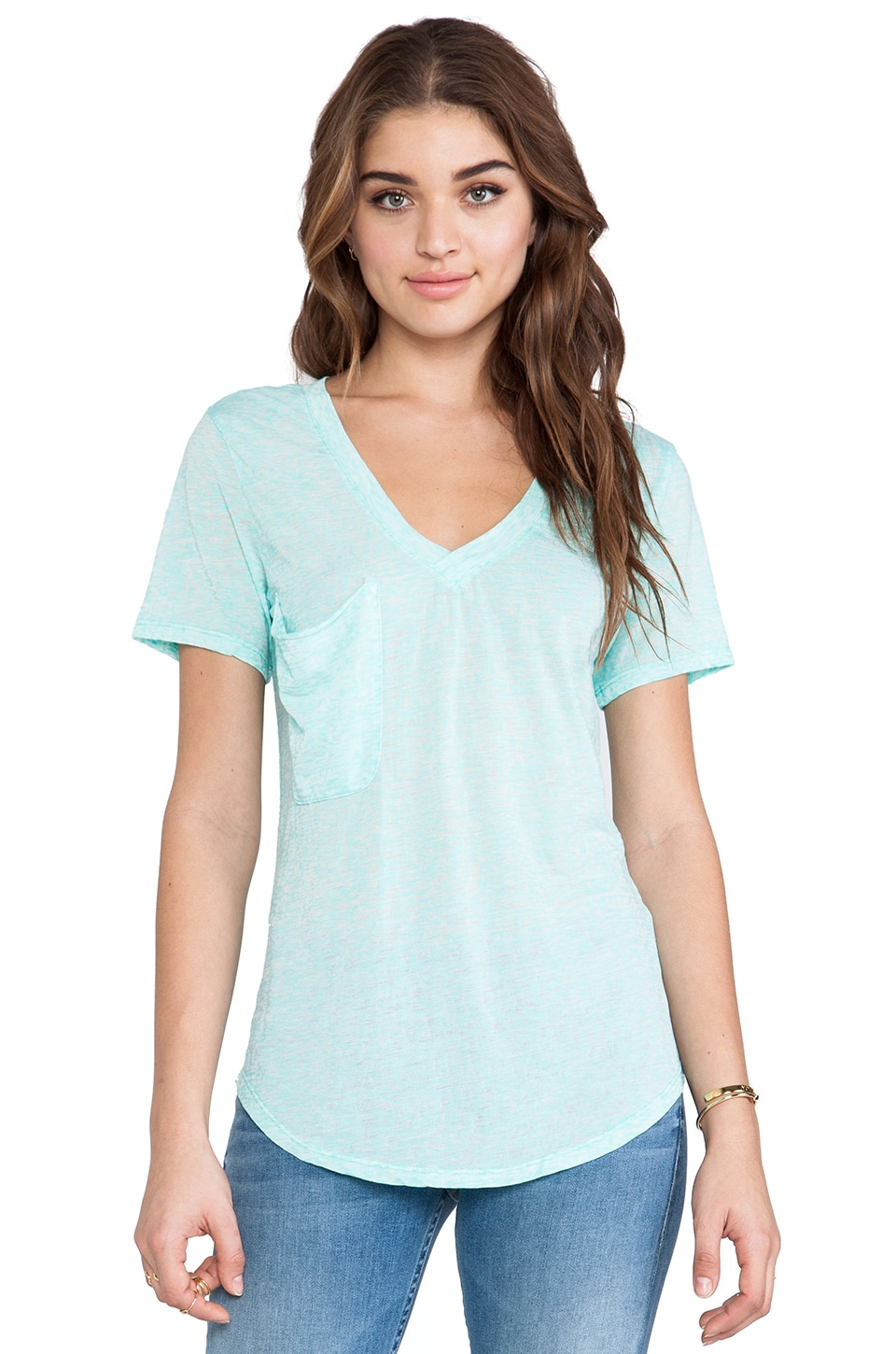 Bobi Burnout Pocket Tee in Aqua