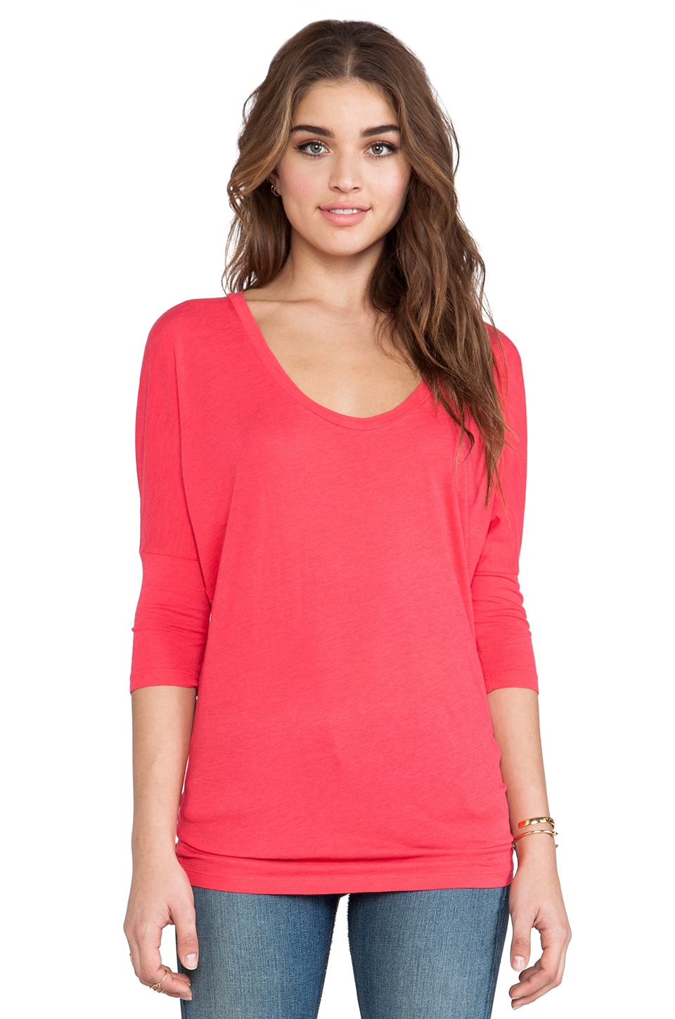 Bobi Slub Dolman Top in Berry Red