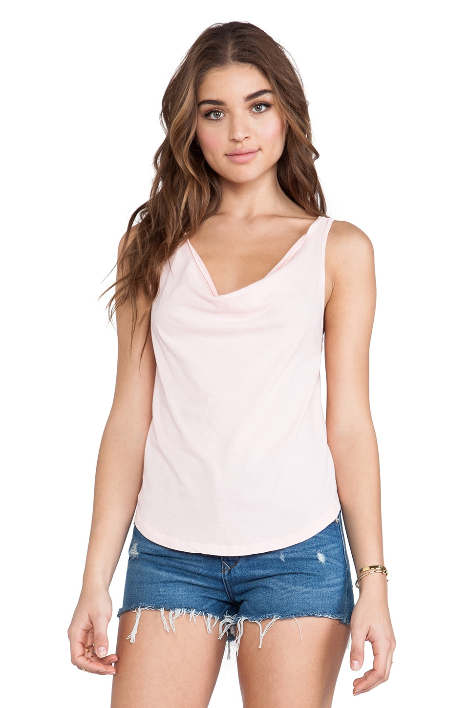 Bobi Light Weight Jersey Cowl Neck Tank in Petal Pink