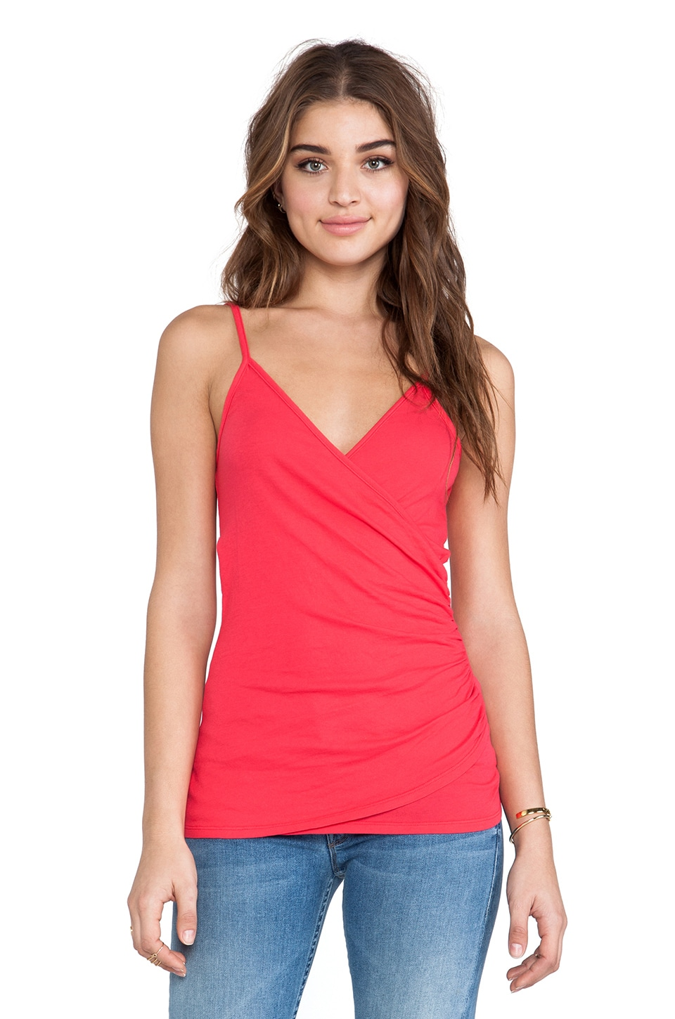 Bobi Light Weight Jersey Wrap Tank in Berry Red