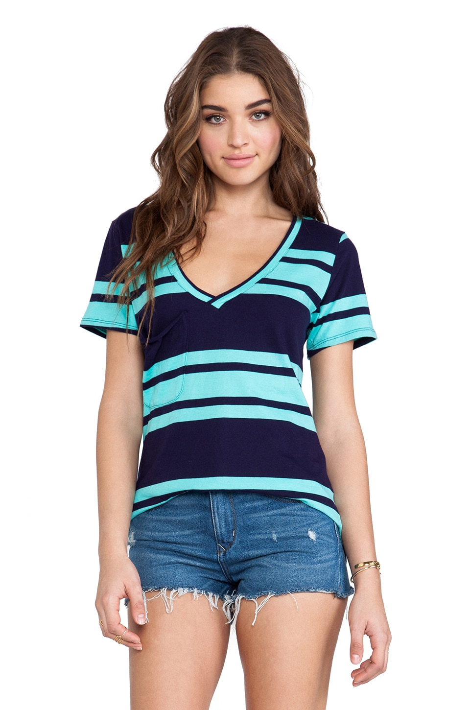 Bobi Light Weight Jersey Striped Pocket Tee in Yacht & Aqua