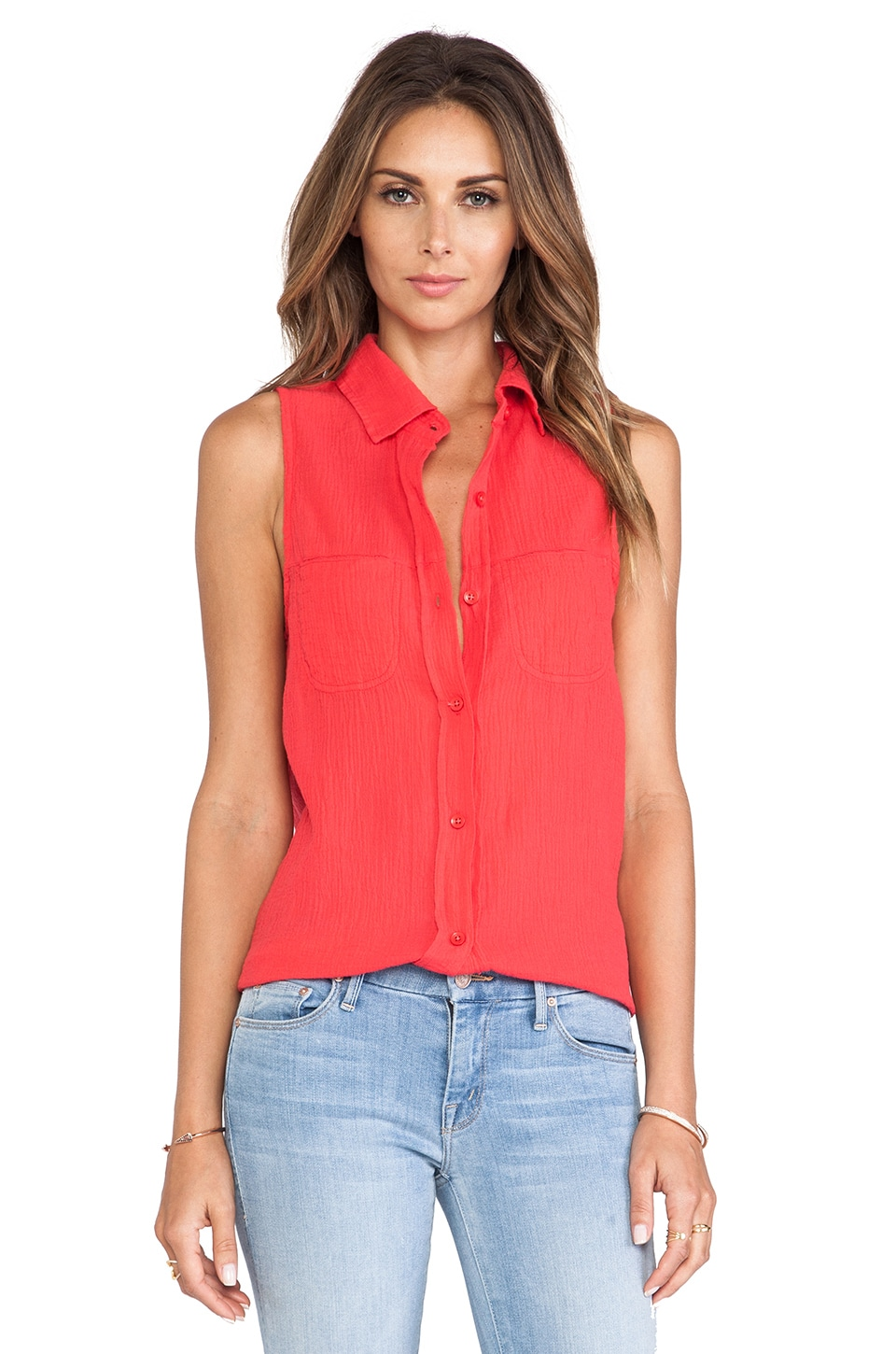 Bobi Button Down Tank in Berry Red