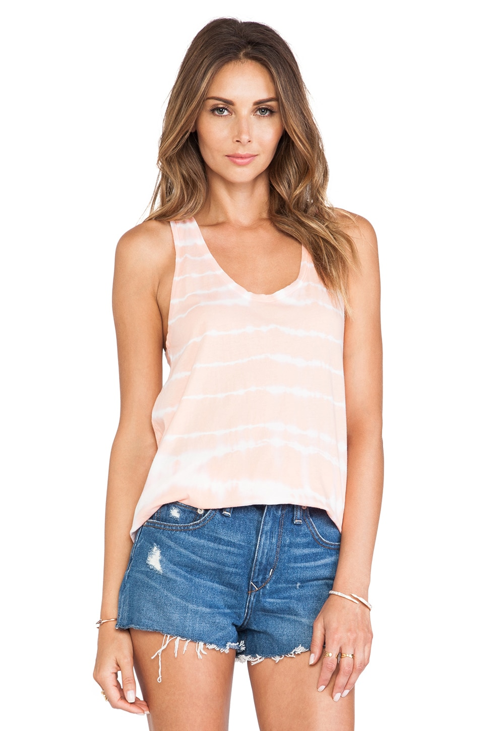 Bobi Light Weight Jersey Tie Dye Tank in Coral