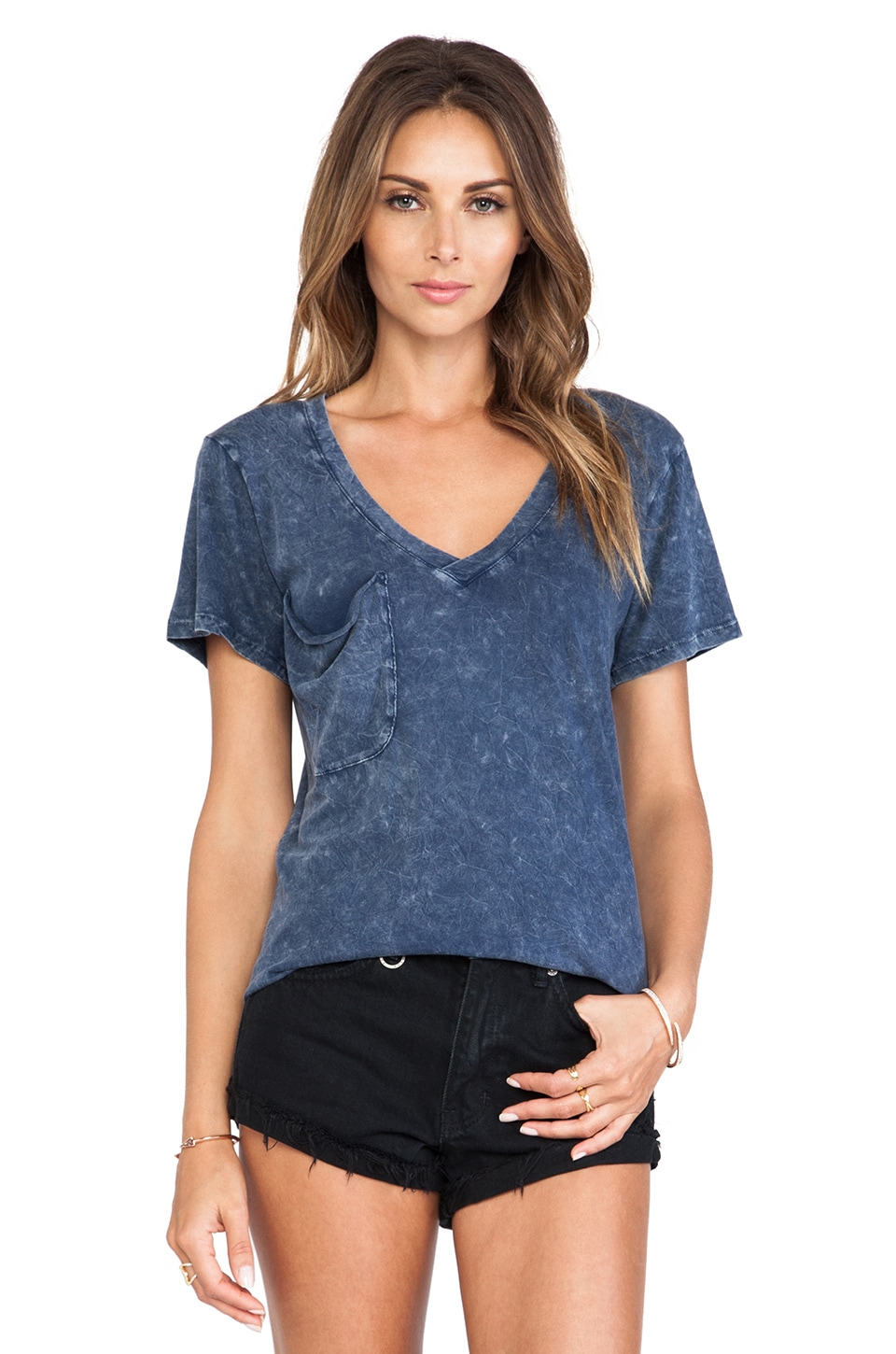 Bobi Denim Wash Jersey Pocket Tee in Denim