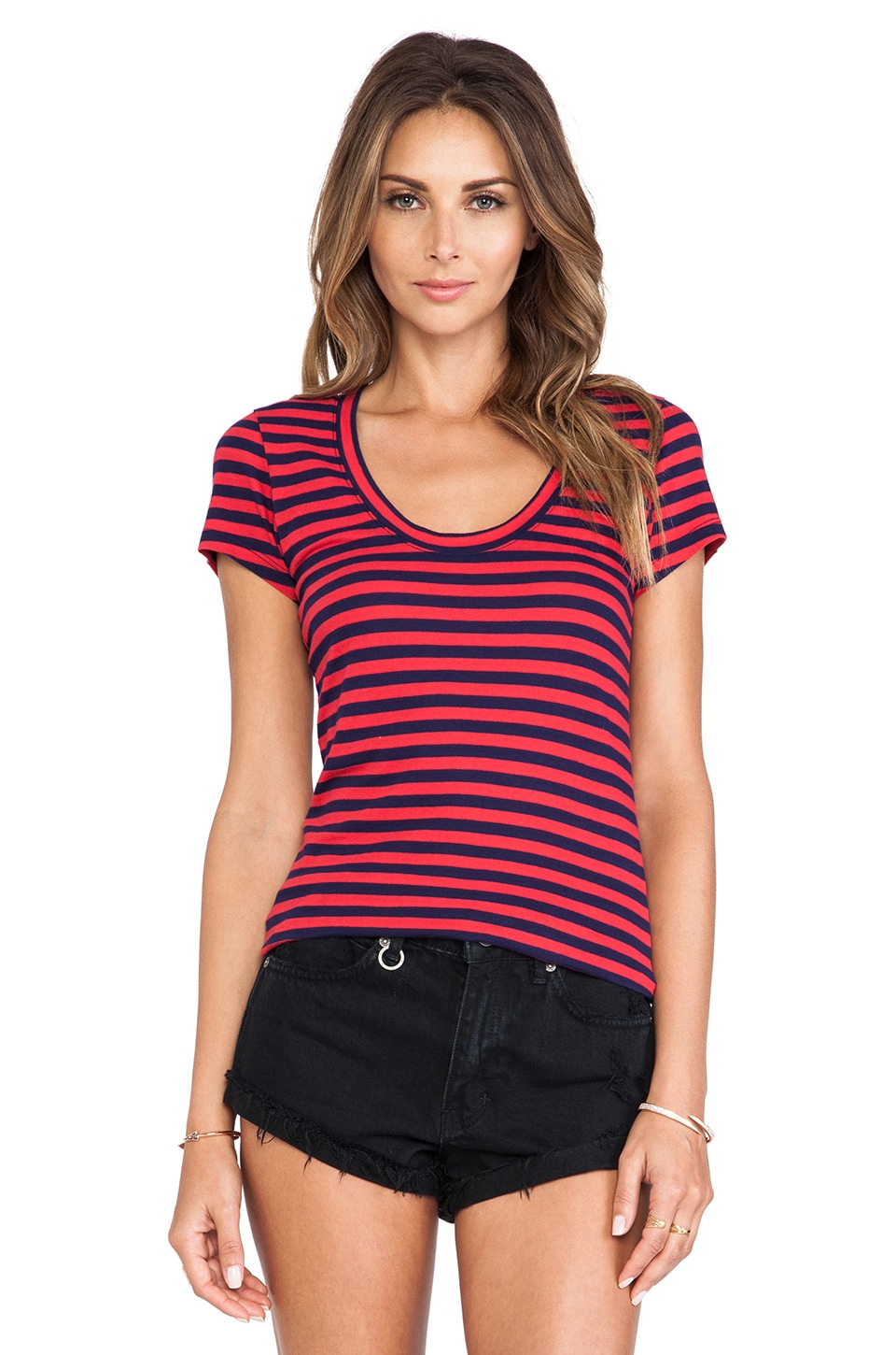Bobi Light Weight Jersey Striped Cap Sleeve Tee in Bali & Yacht
