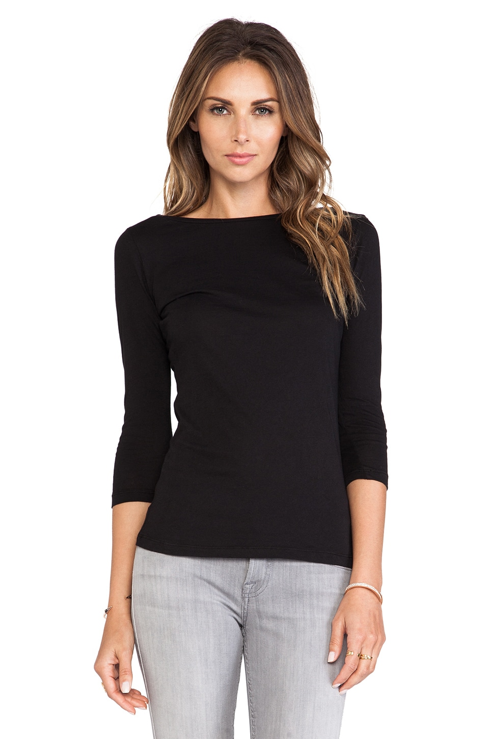 Bobi Light Weight Jersey 3/4 Sleeve in Black