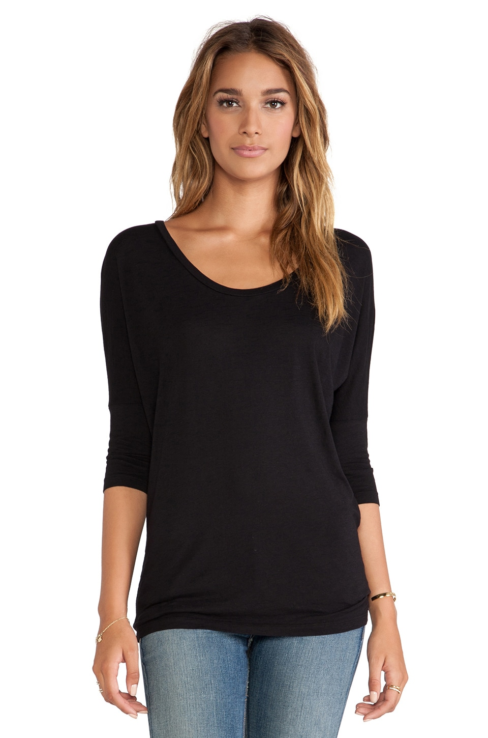 Bobi Slub Dolman Long Sleeve Tee in Black