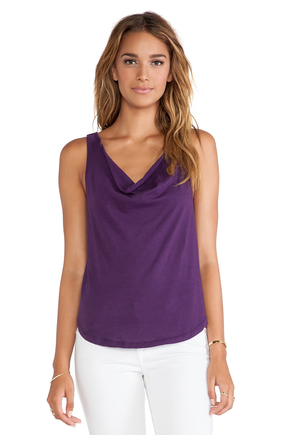 Bobi Light Weight Jersey Cowl Neck Tank in Plum