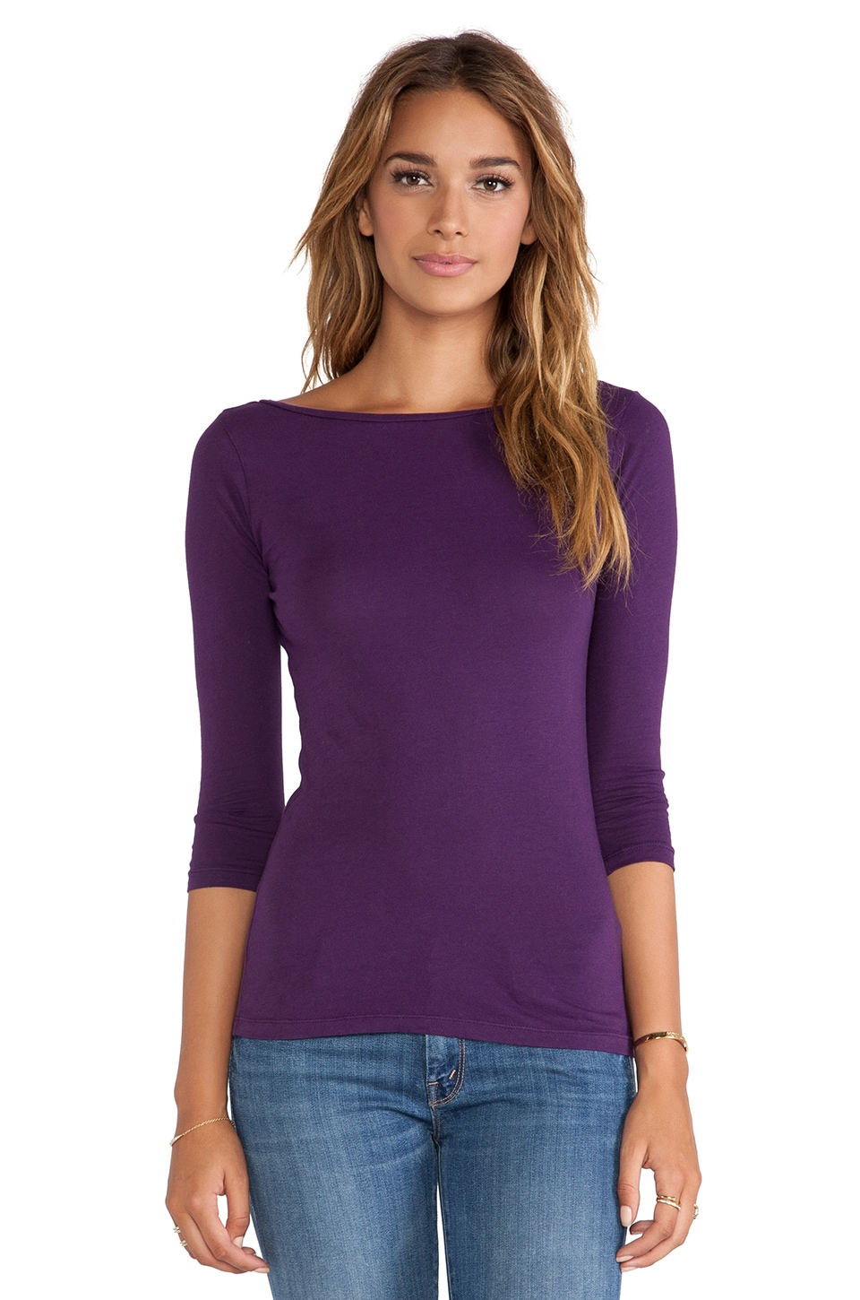 Bobi Light Weight Jersey Long Sleeve Tee in Plu
