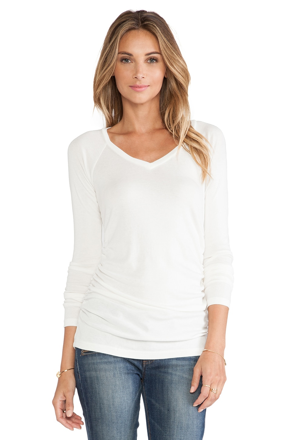 Bobi V Neck Long Sleeve Tee in Light