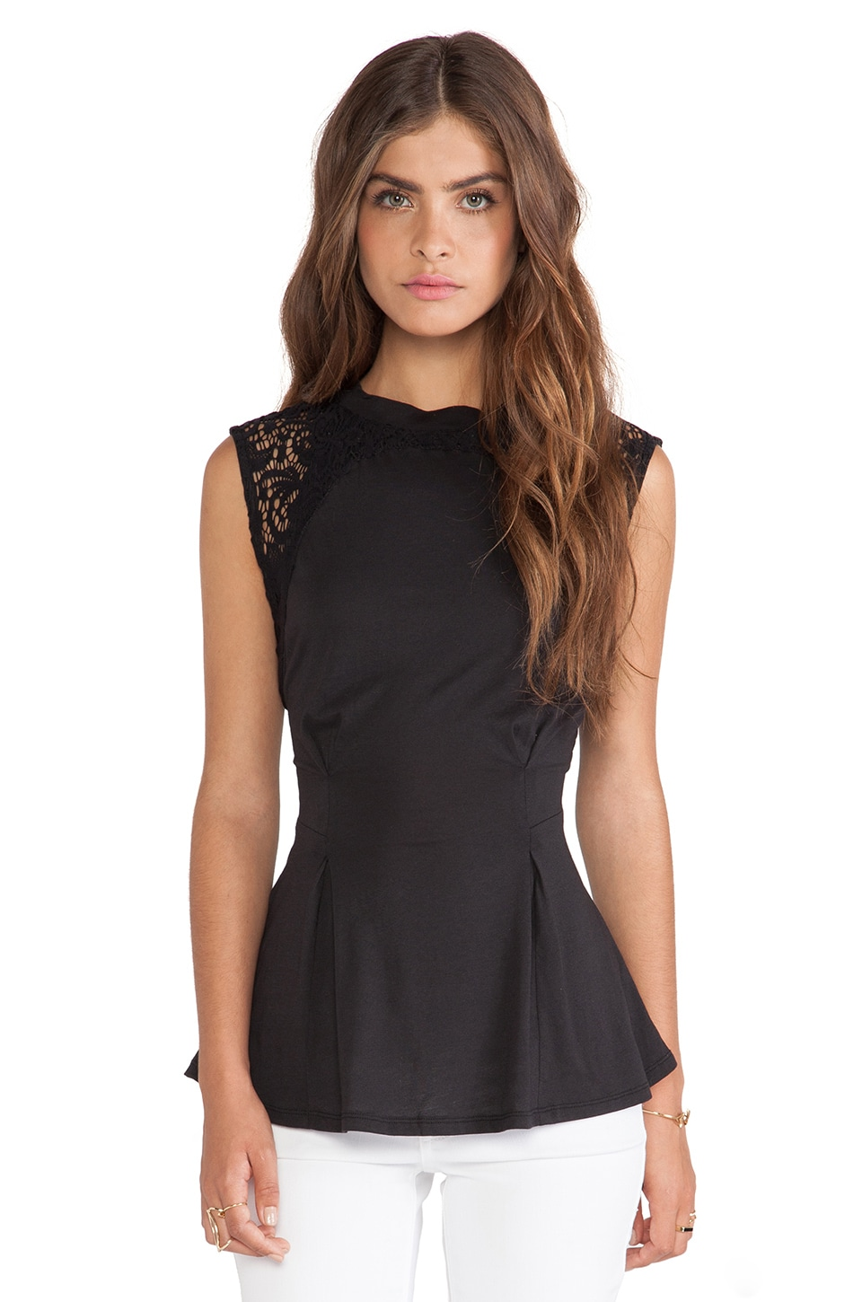 Bobi Lace Top in Black