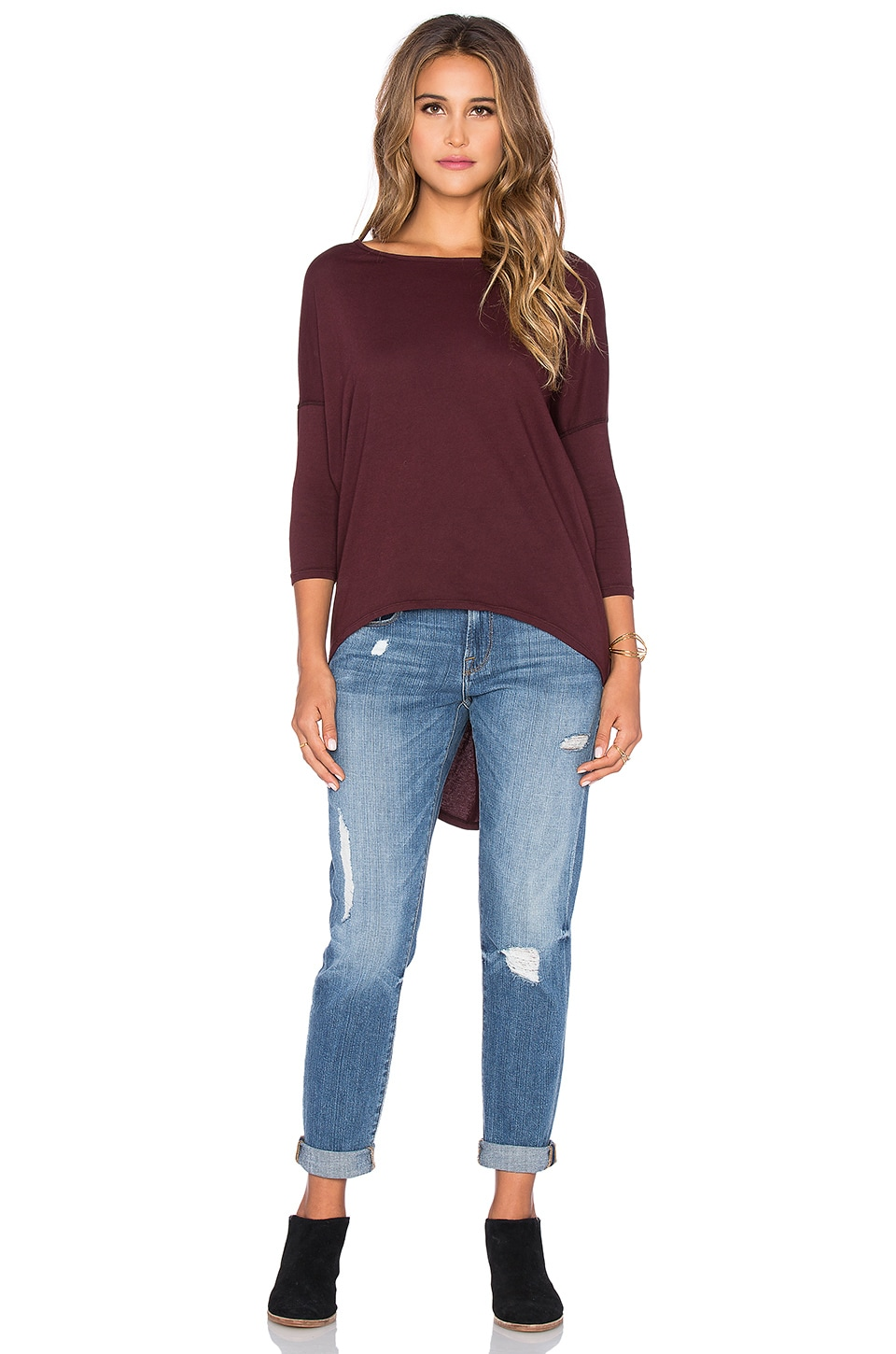 Bobi Light Weight Jersey 3/4 Sleeve Dolman in Malbec