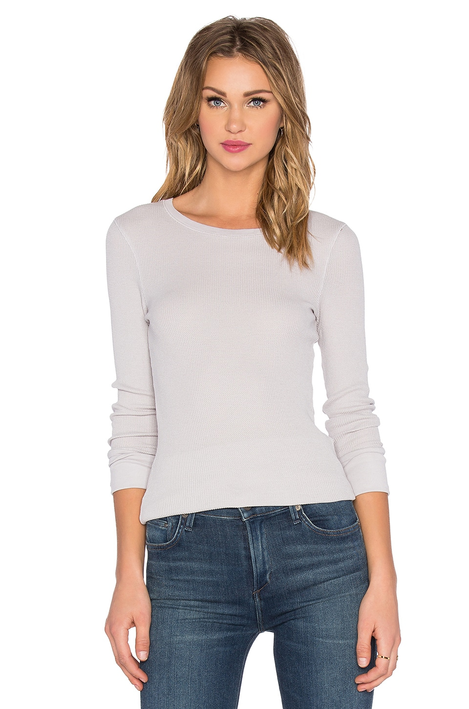 Bobi Thermal Long Sleeve Tee in Icy Grey