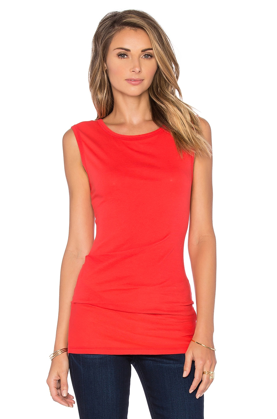 Bobi Lightweight Jersey Shirred Tank in Retro Red