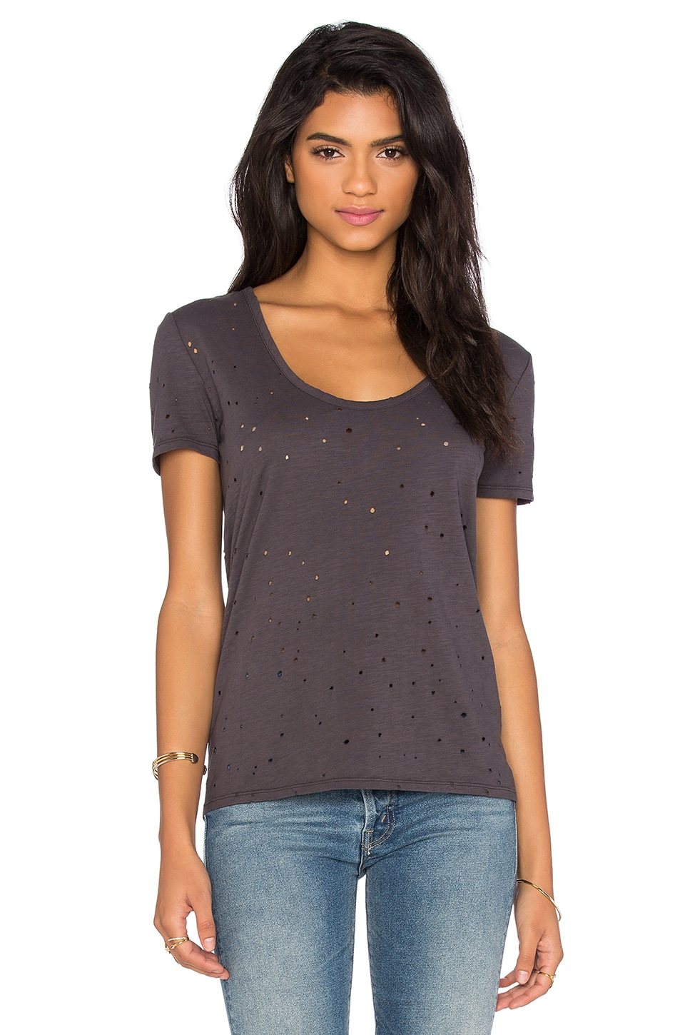 Bobi Slubbed Ripped Holes Scoop Neck Tee in Storm Cloud
