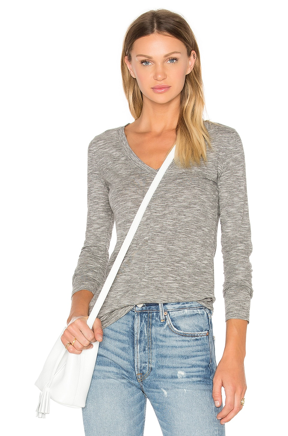 Bobi Mini Striped Jersey Long Sleeve V Neck Top in Black