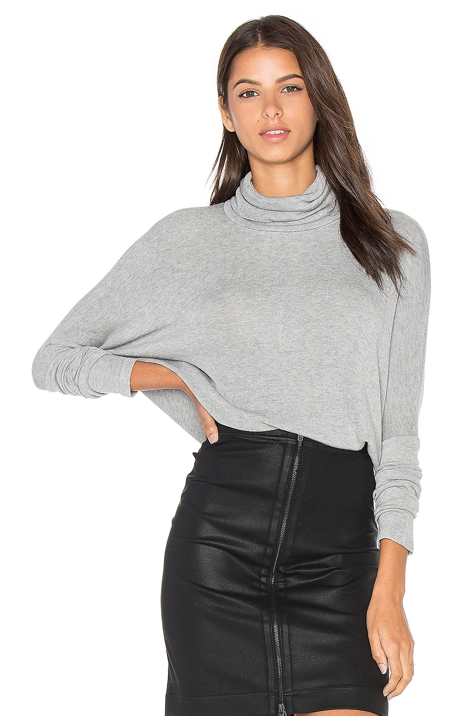 Draped Rib Long Sleeve Turtleneck Top by Bobi