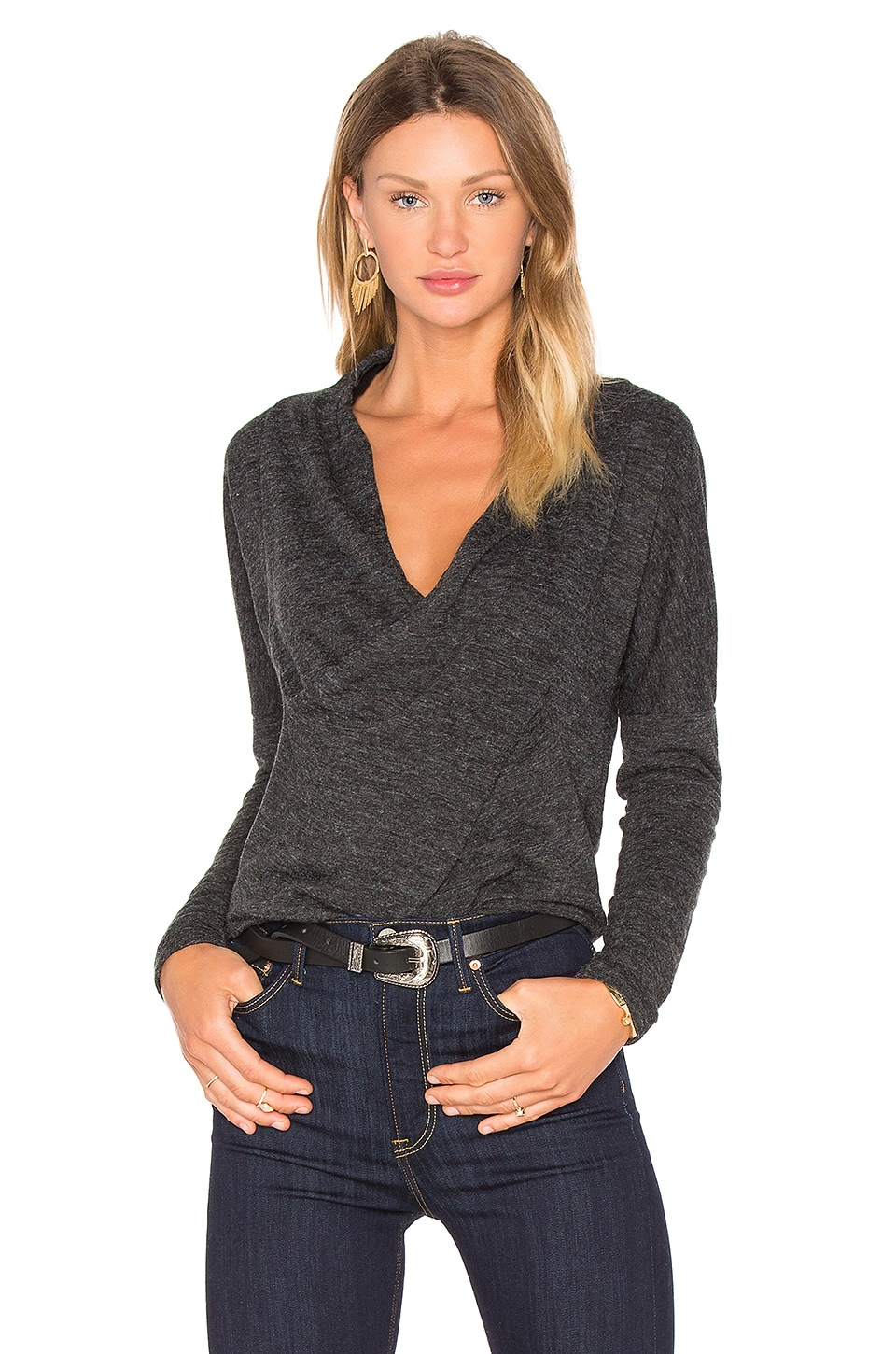 Fine Woolen Jersey Cross Front Long Sleeve Top by Bobi