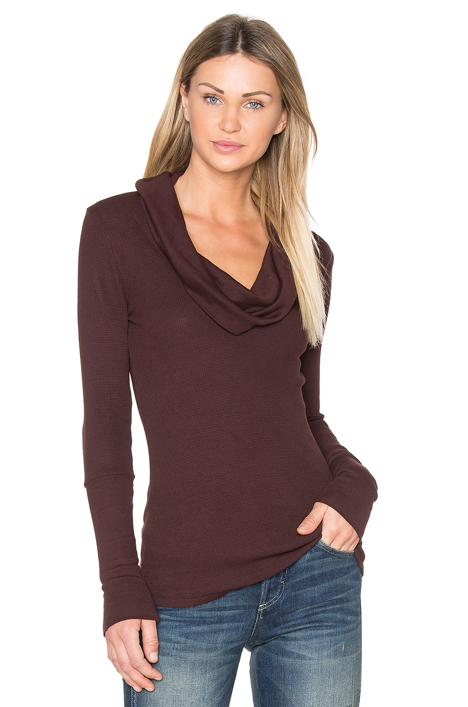 Modal Thermal Cowl Neck Long Sleeve Top by Bobi