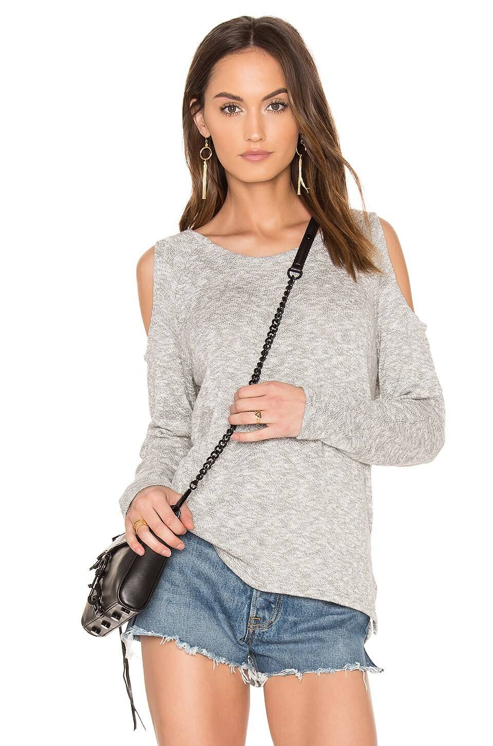 Bobi Marled Knit Cold Shoulder Top in Grey