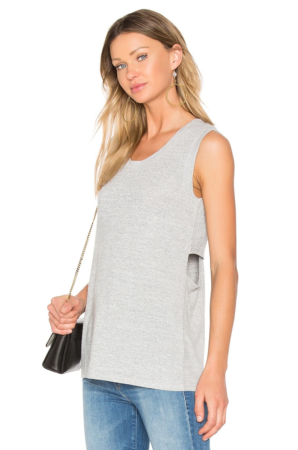 Bobi Faded Crew Neck Tank in Grey