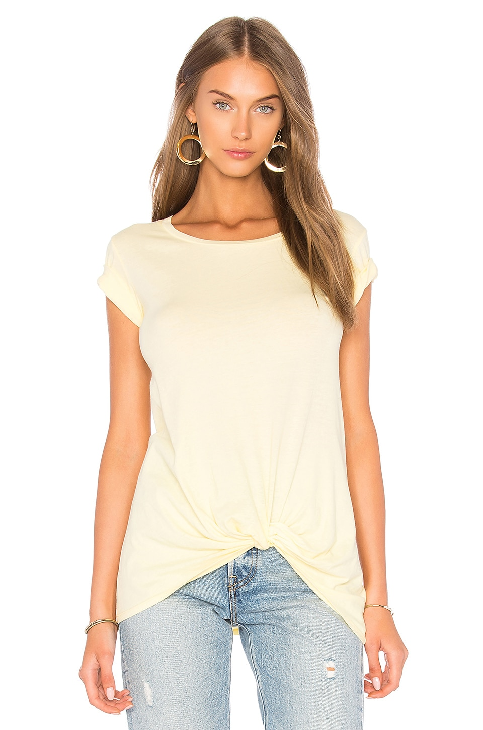 Bobi Yellow Light Weight Jersey Knotted Tee