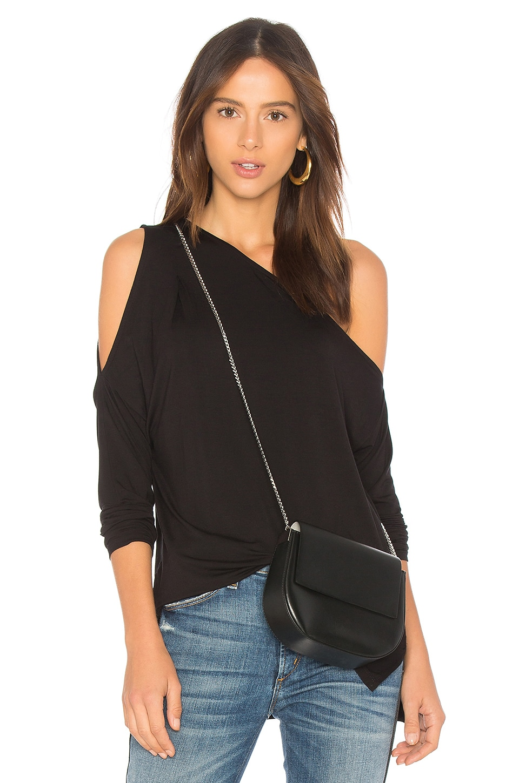Bobi Bamboo Jersey One Shoulder Top in Black