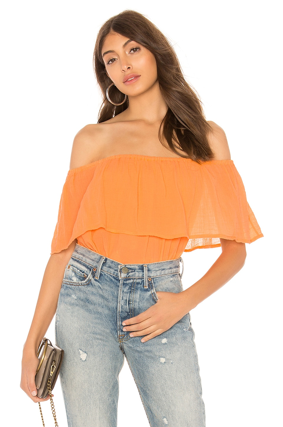 Bobi Gauze Off Shoulder Top in Mango