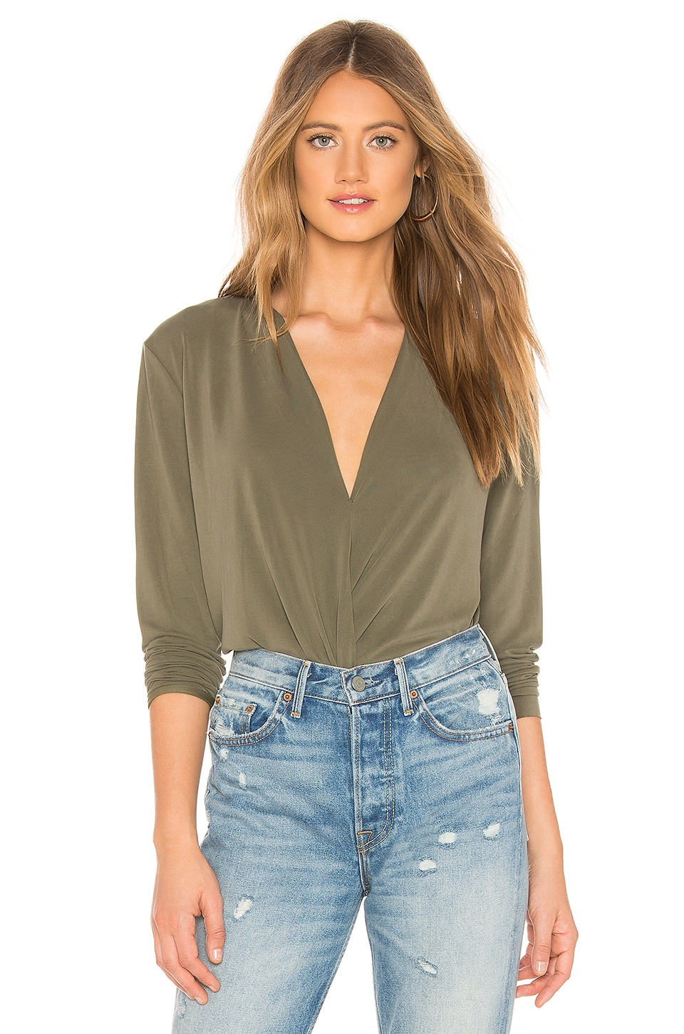 Sueded Jersey Draped Blouse
