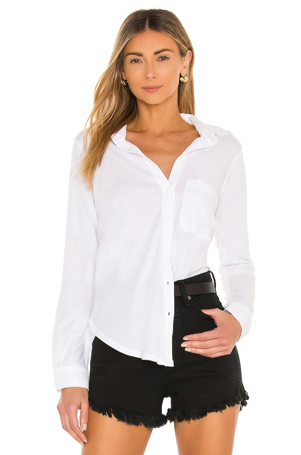 Bobi Light Weight Jersey Button Down in White