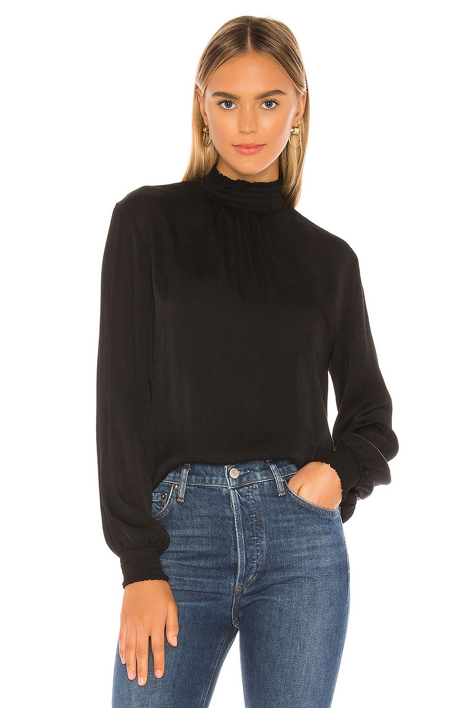 Bobi BLACK Textured Viscose Blouse in Black