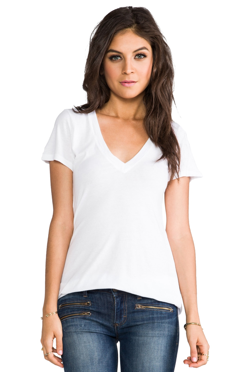 Bobi Light Weight Jersey V Neck Tee in White