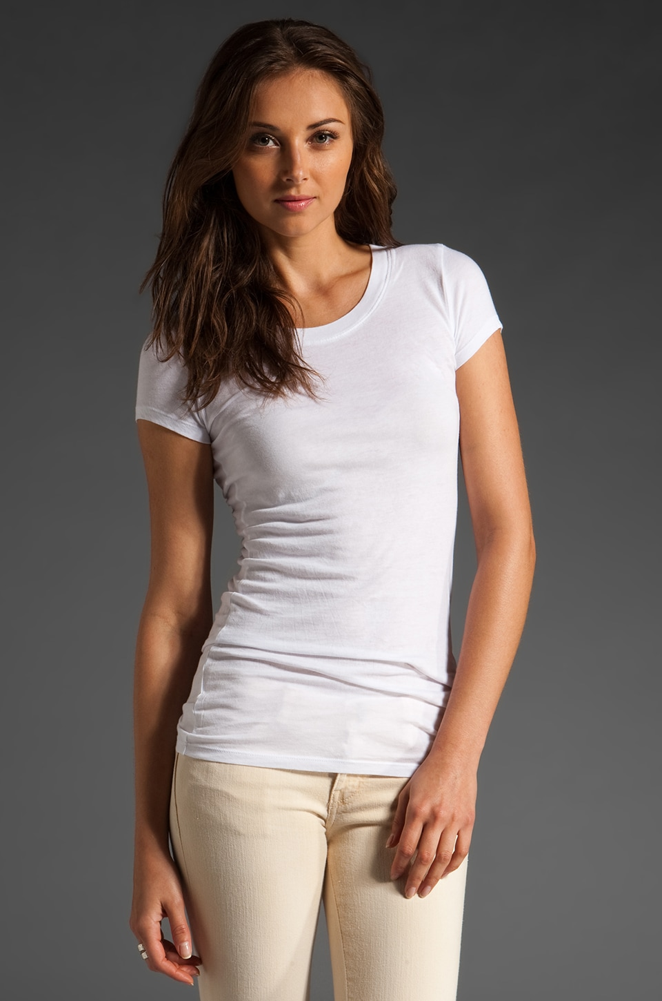 Bobi Light Weight Jersey Crew Neck Tee in White
