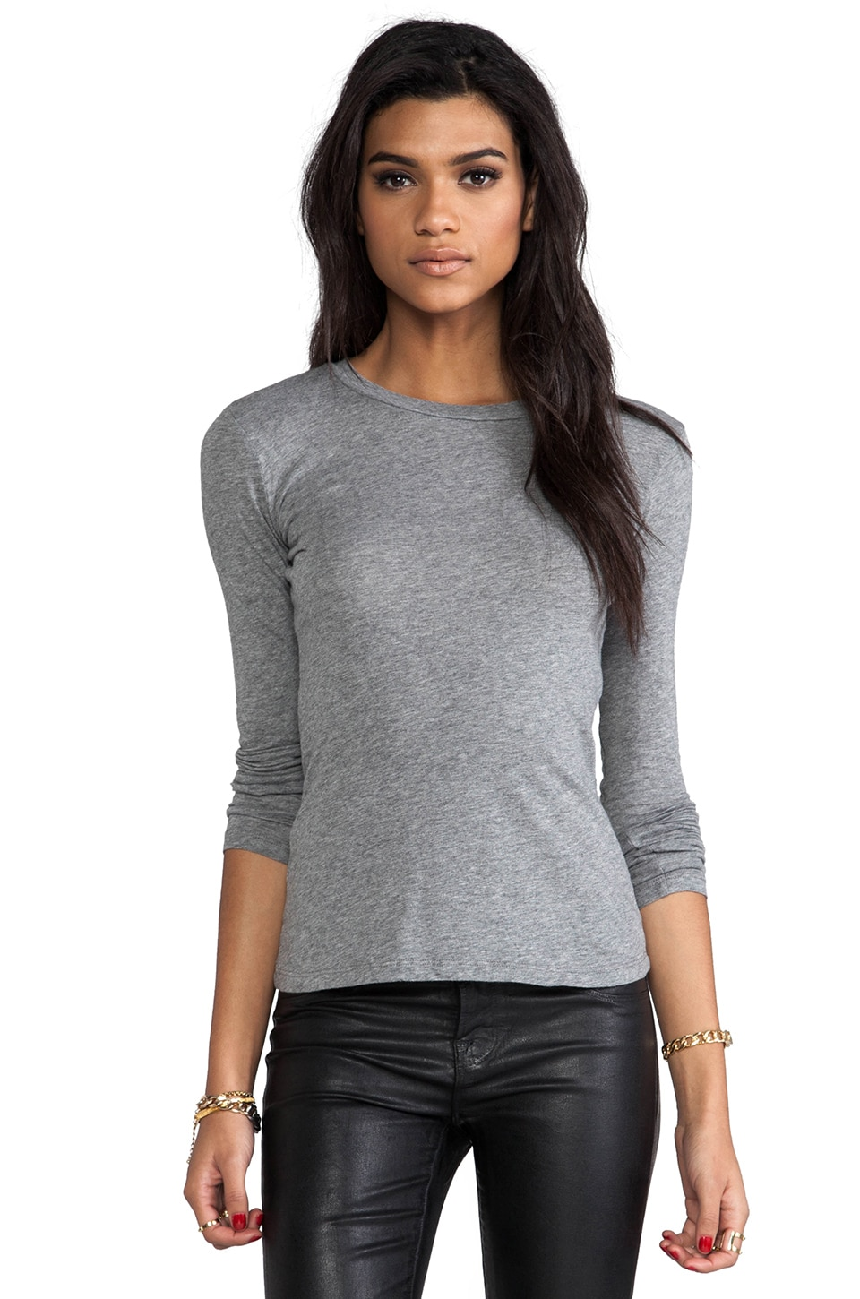 Bobi Light Weight Jersey Crew Neck Tee in Thunder