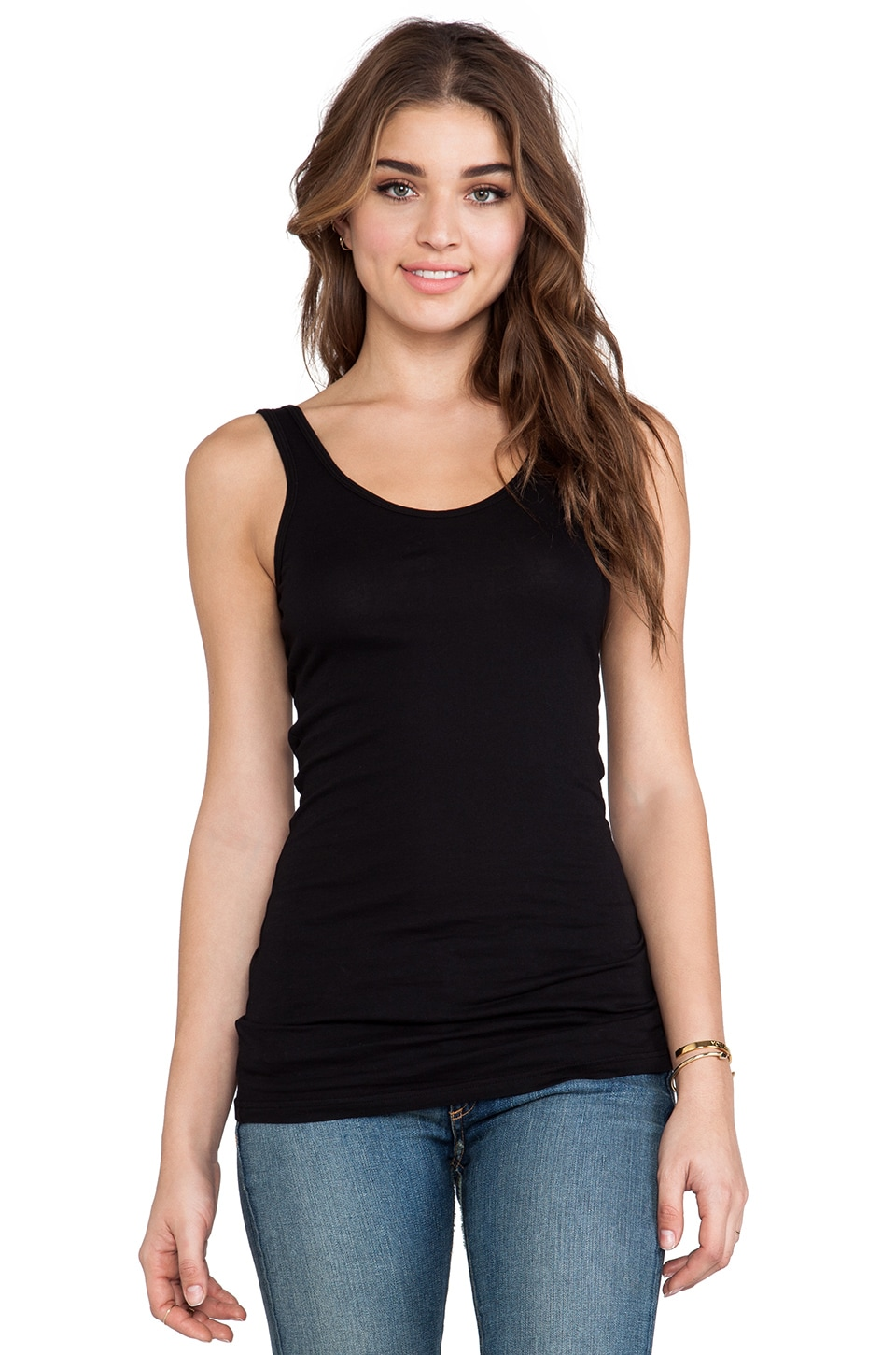 Bobi Light Weight Jersey V-Neck Tank in Black