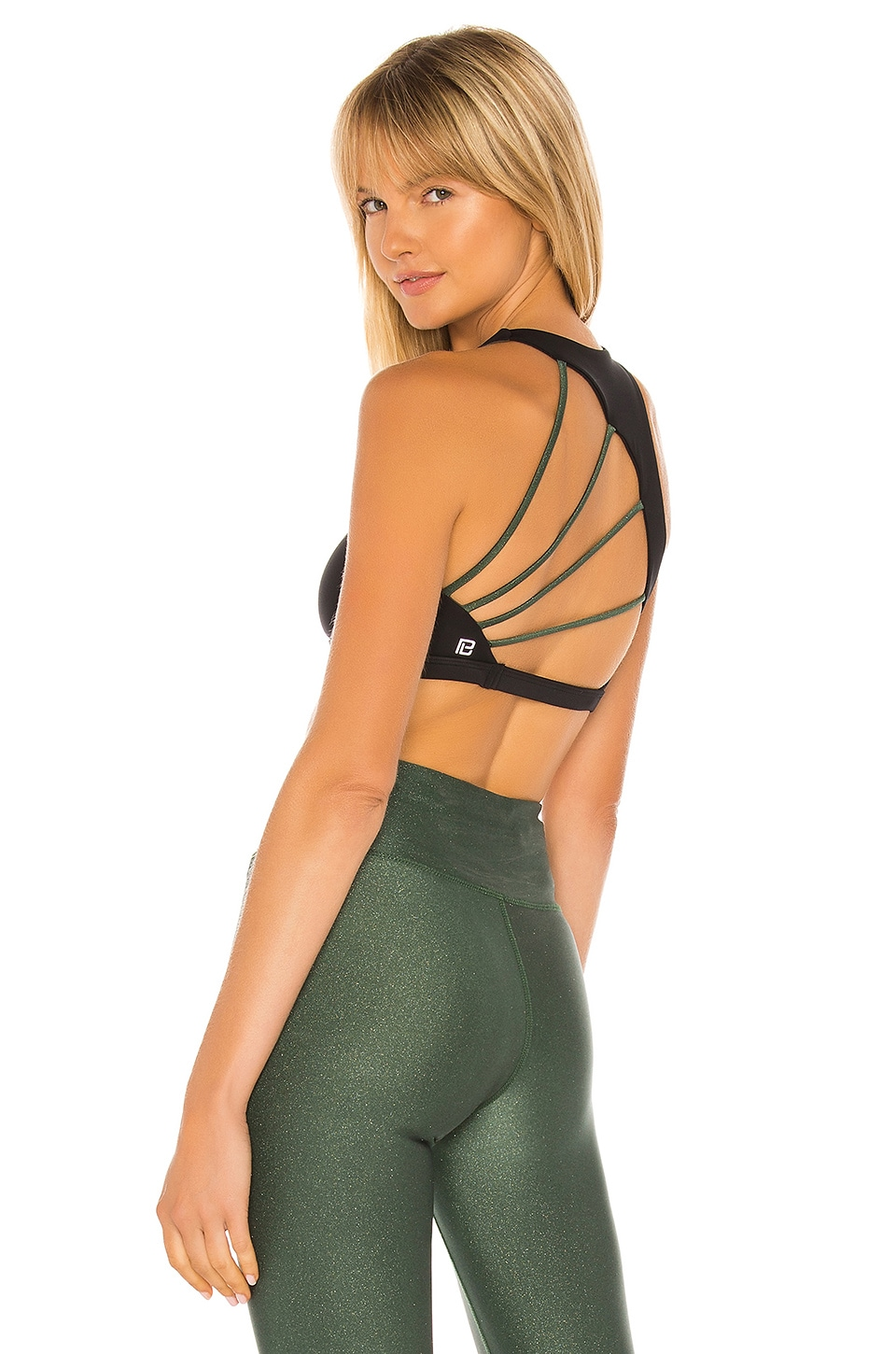 Body Language Margo Reversible Sports Bra in Black & Olive