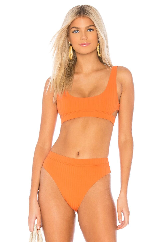 BOND EYE Heatwave Rib Crop Bikini Top in Orange